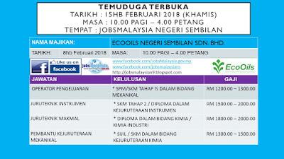 Temuduga EcoOils Nilai di JobsMalaysia Negeri Sembilan 15 Februari 2018