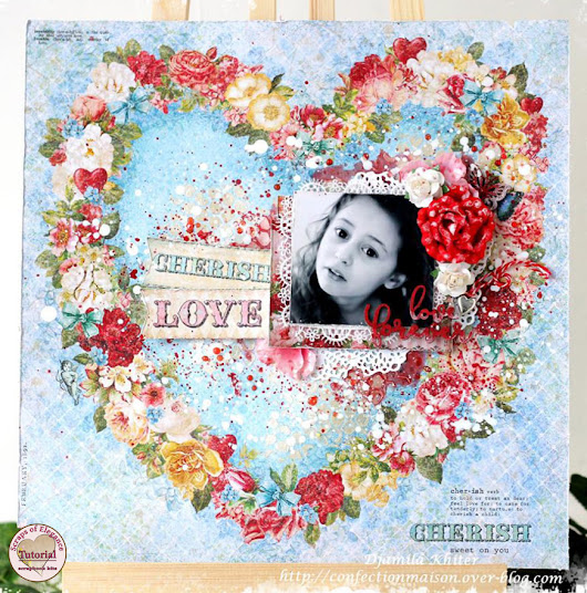 Mixed media layout tutorial for Valentine's Day