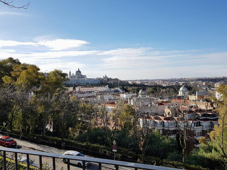 公園內看向馬德里皇宮一景