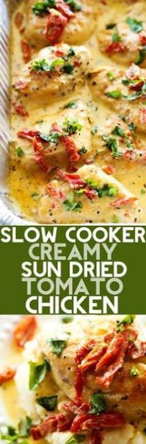 Slow Cooker Creamy Sun Dried Tomato Chicken