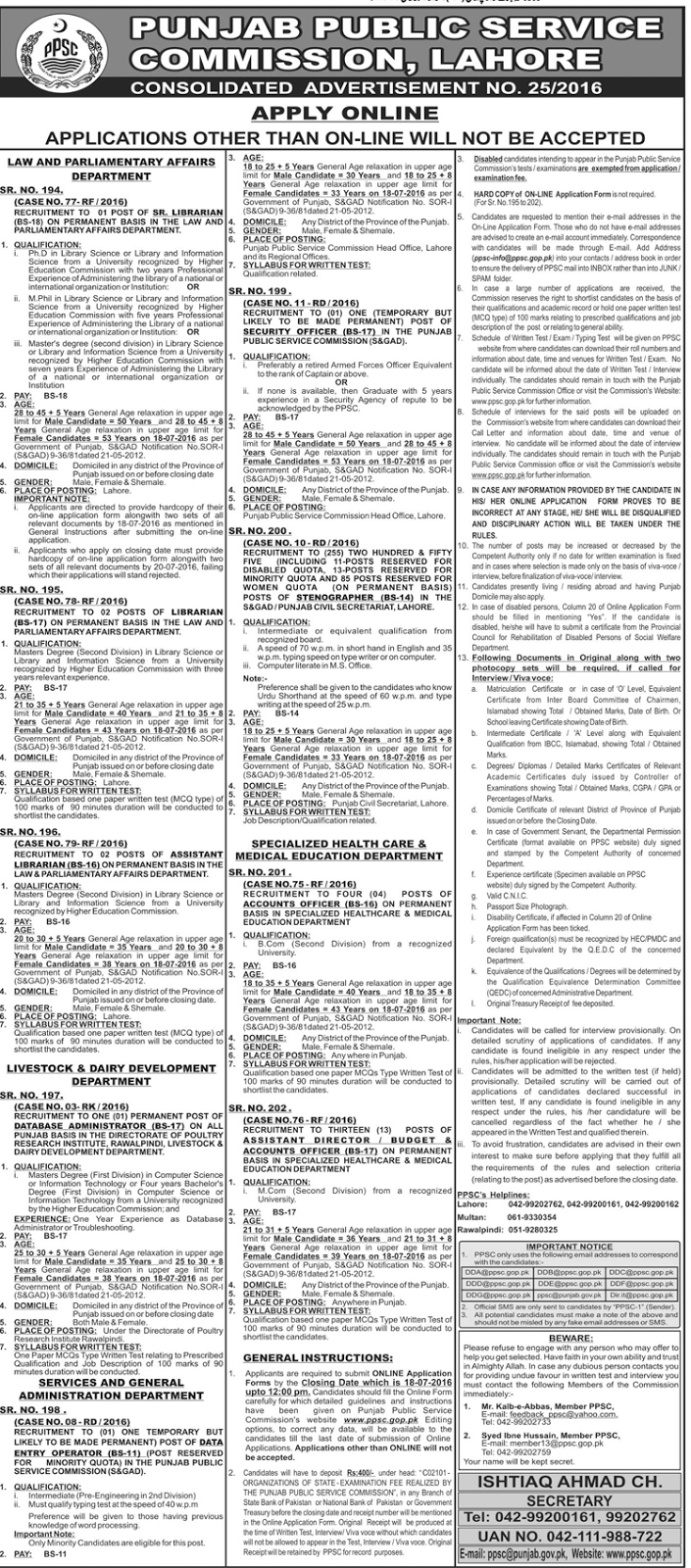 Jobs in Pakistan Punjab Public Service Commission Jobs
