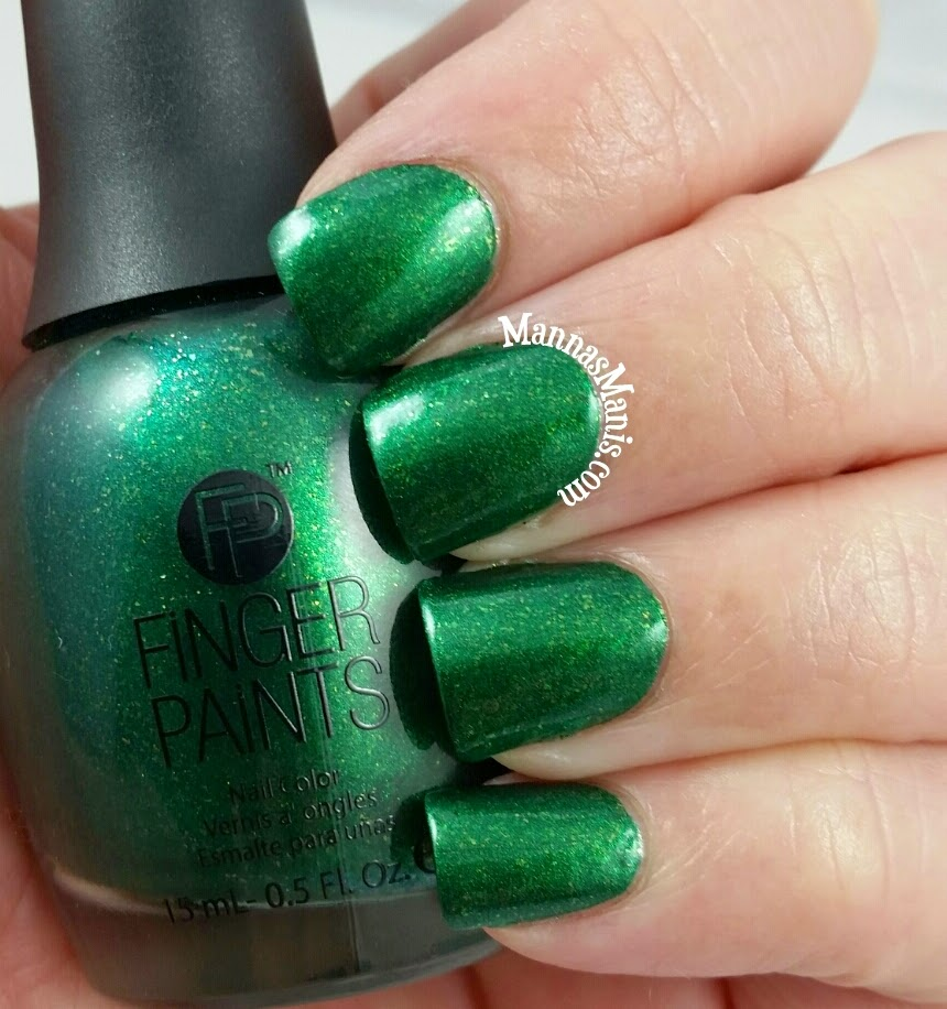fingerpaints ball gown glamour, a green shimmer nail polish