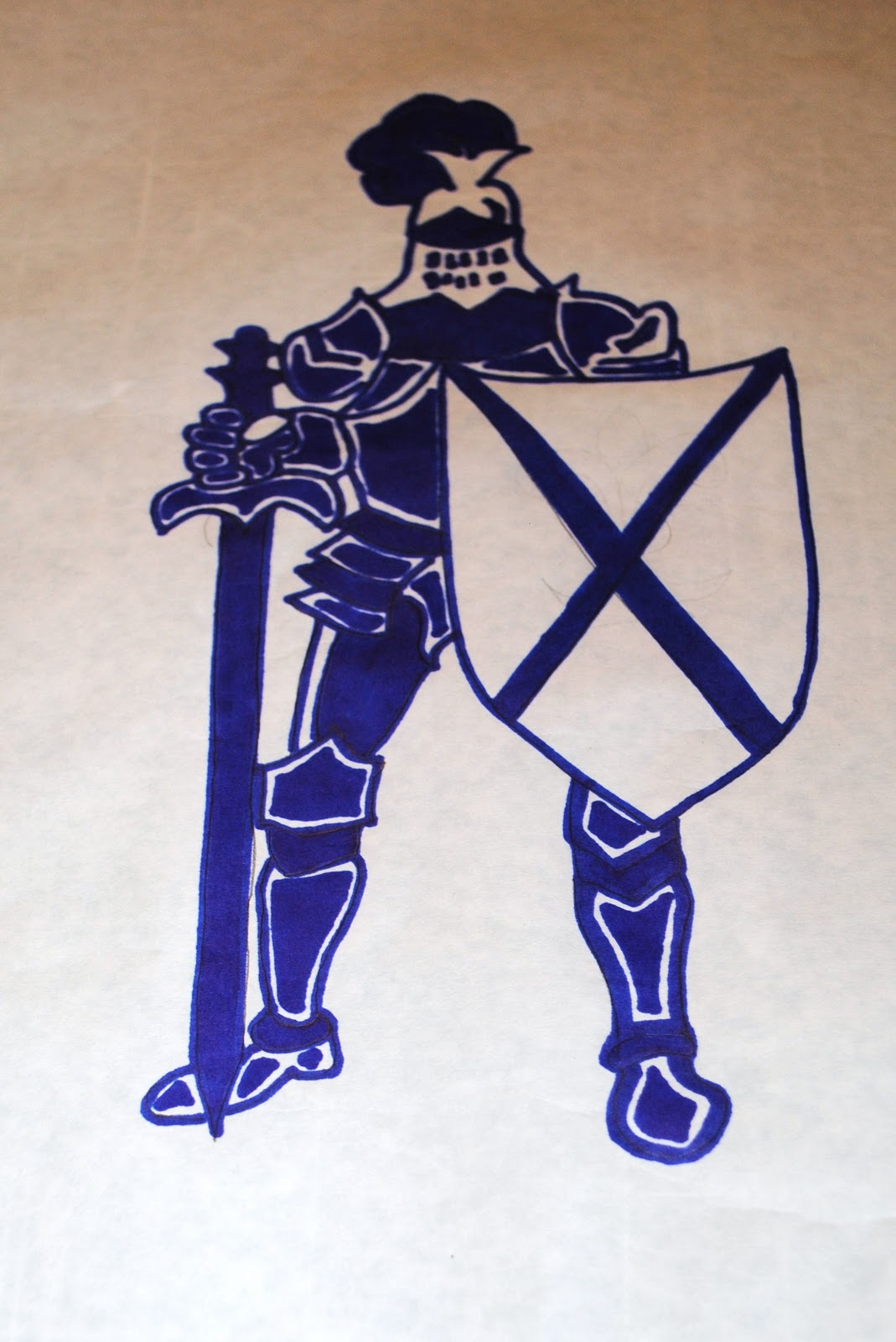 A Knightly Freezer Paper Stenciled Pillow - Beatnik Kids