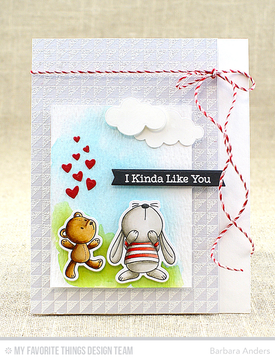 Kinda Like You Card by Barbara Anders featuring the Snuggle Bunnies stamp set and Die-namics, the Split Triangle Background stamp, and the Puffy Clouds, Blueprints 27, and Tag Builder Blueprints 5 Die-namics #mftstamps