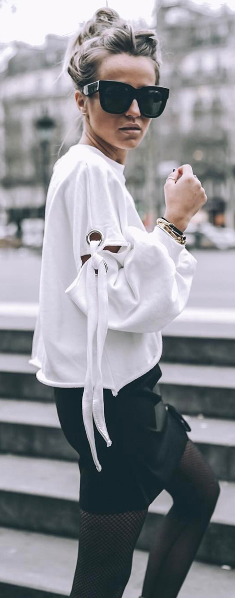 white sweater + skirt
