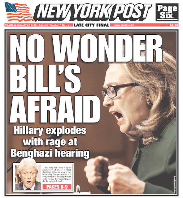Front page of The New York Post after Hilary Clinton admonished Senator Ron Johnson during a Senate Foreign Relations Committee hearing on the Benghazi terrorist attack (January 24, 2013)