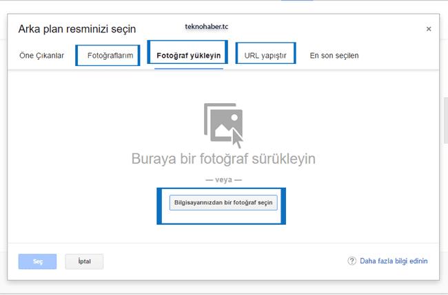 gmail arka plan resmi seçme