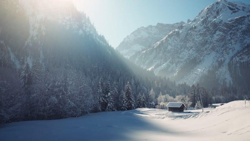 Cottage in Winter Landscape from Mittelberg, Austria