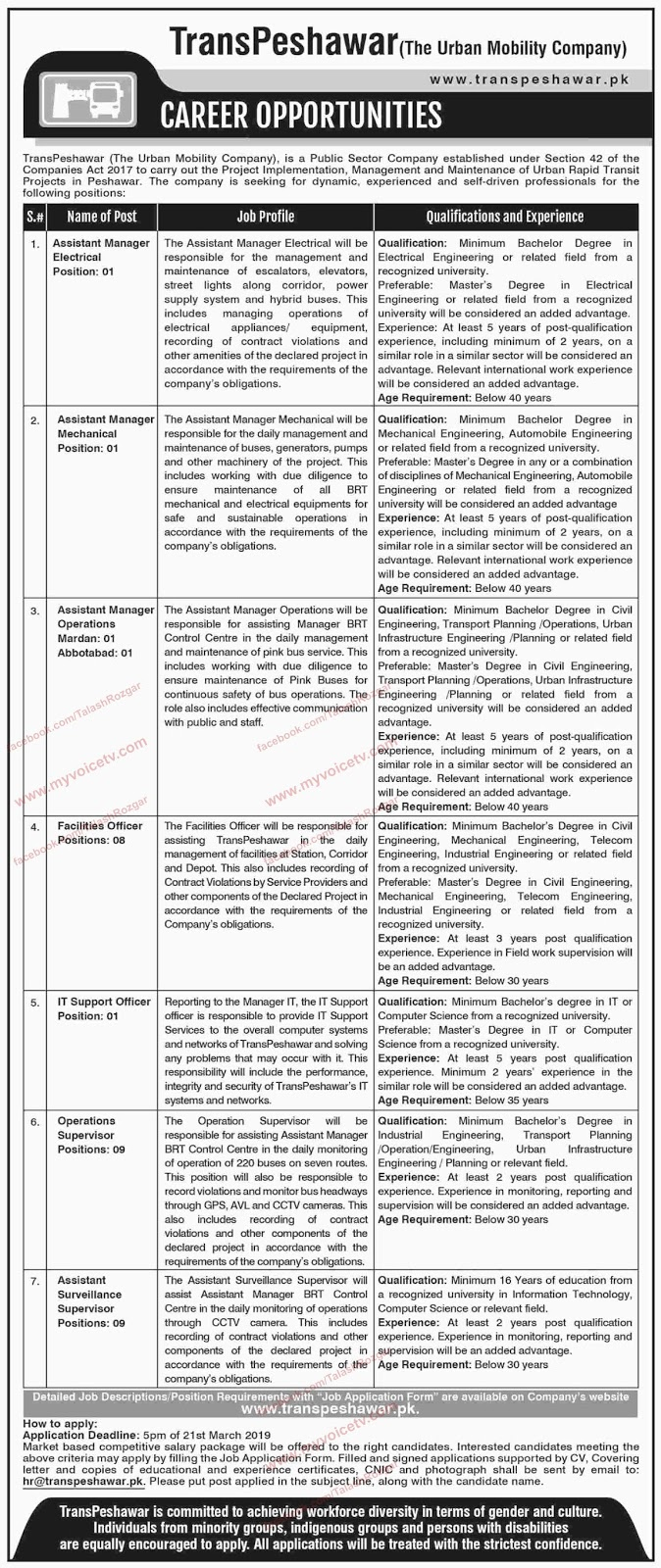 ➨ #Jobs - #Career_Opportunities - #Jobs -  #Jobs in Trans Peshawar (The Urban Mobility Company) –for application visit the link