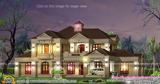 4843 square feet villa night view