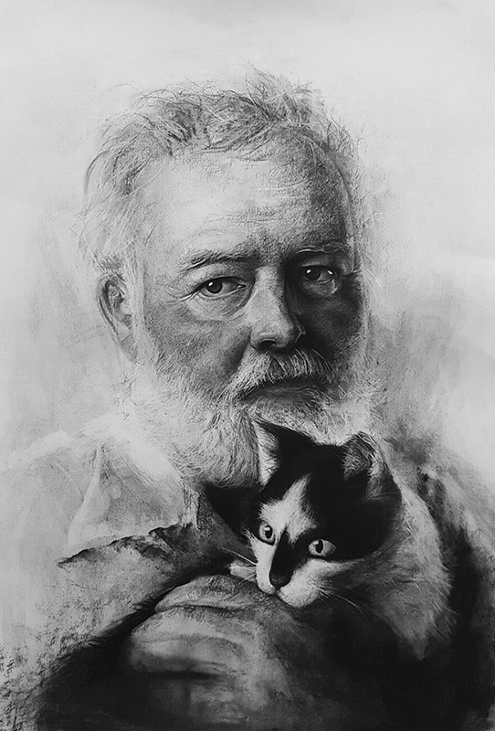 06-Ernest-Hemingway-Liu-Ling-Faces-of-Writers-in-Charcoal-Drawings-www-designstack-co