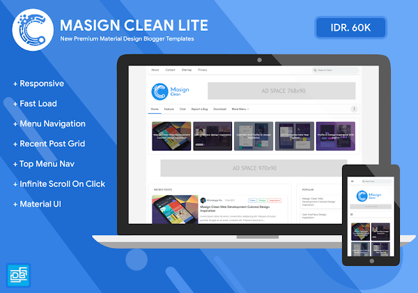 Masign Clean Lite Premium Material Design Blogger Template