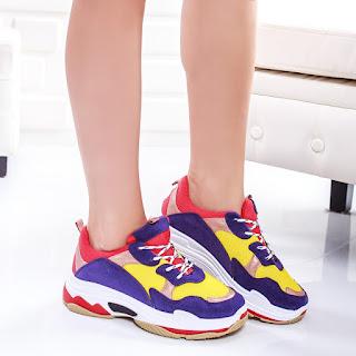 Pantofi sport Saisli multicolori cu talpa groasa