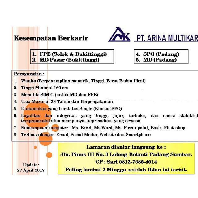 Lowongan Kerja Padang: PT. Arina Multikarya April 2017