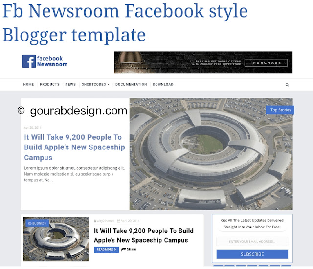Fb newsroom bloggee template for facebook style