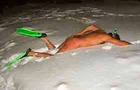 snow swimmer cold + man swims in snow image funny