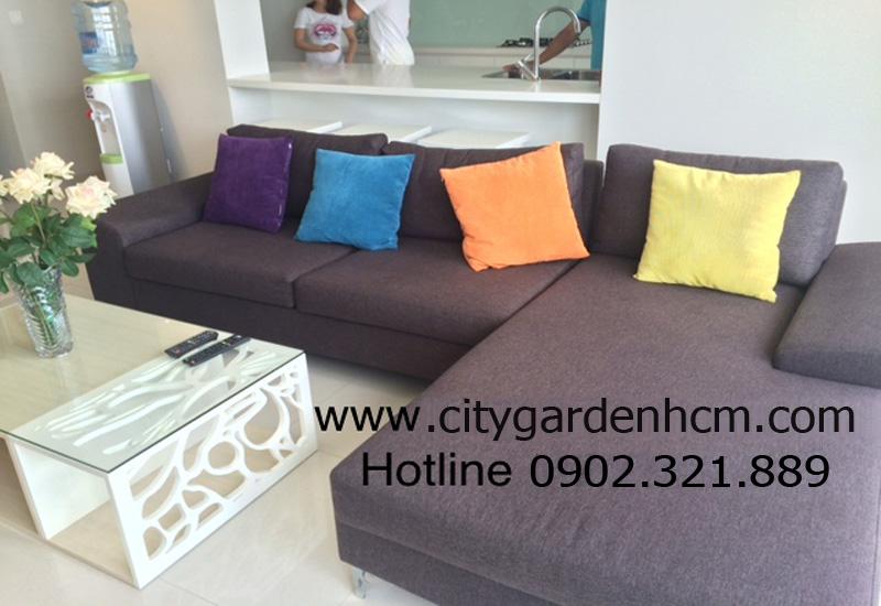 sofa tại phòng khách căn hộ cho thuê 3 phòng ngủ