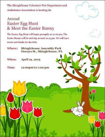 4-19 Easter Egg Hunt, Shinglehouse VFD