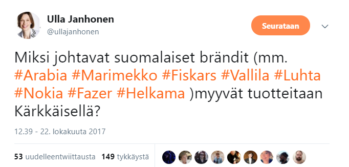 Suomalaiset yritykset boikottiin — LeenaRosendahlOsHanhijrvi ed2f7eeb81