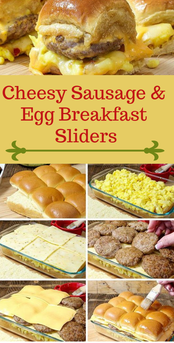 Cheesy Sausage & Egg Breakfast Sliders #dinner #egg