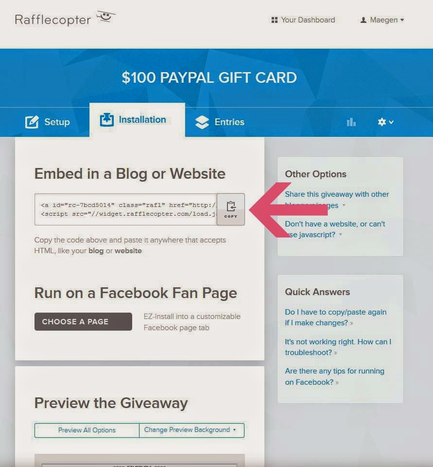 How To: Create A Rafflecopter Giveaway   The Modern Tulip