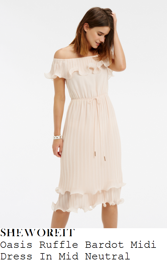 vicky-pattison-oasis-cream-nude-off-the-shoulder-bardot-neckline-ruffle-frill-detail-midi-dress