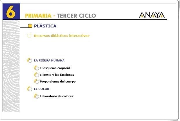 Recursos Didácticos Interactivos Anaya. Plástica de 6º de Primaria. (Deja huella)