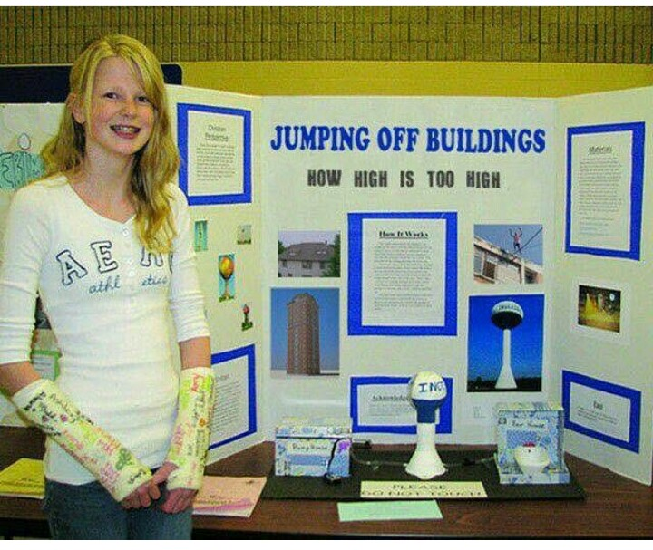 Funny Jumping Off Buildings School Project Sign Picture