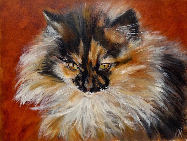 Little Fluff Pot, oil painting of a tortoiseshell cat