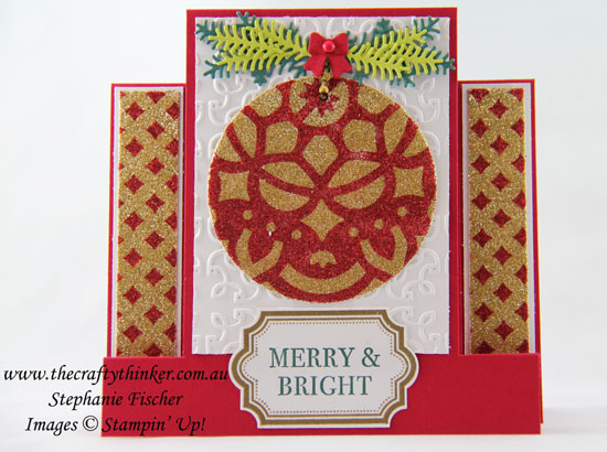 #cardmaking, Xmas, #christmascard, Christmas card,Centre Step Card, Fun Fold, Glitter Stencilling, #inkitstampit, #thecraftythinker, Stampin Up Australia Demonstrator, Stephanie Fischer