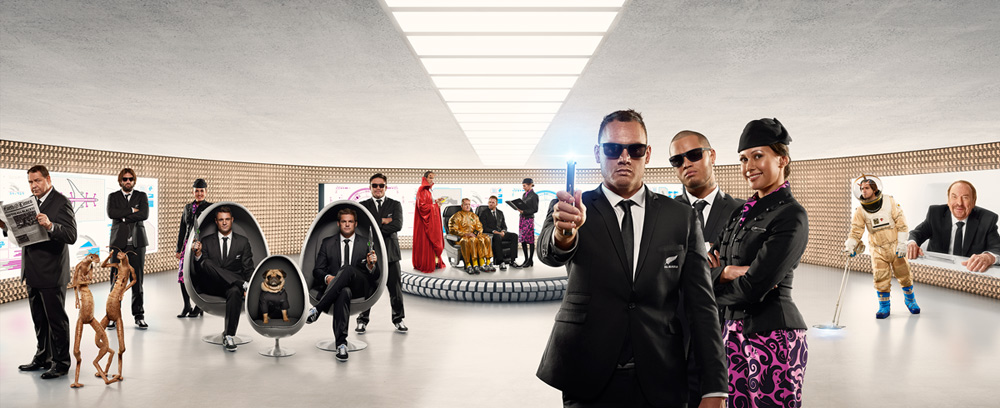 Men in Black Safety Defenders Star In Out Of This World Air New Zealand Safety Video Spot