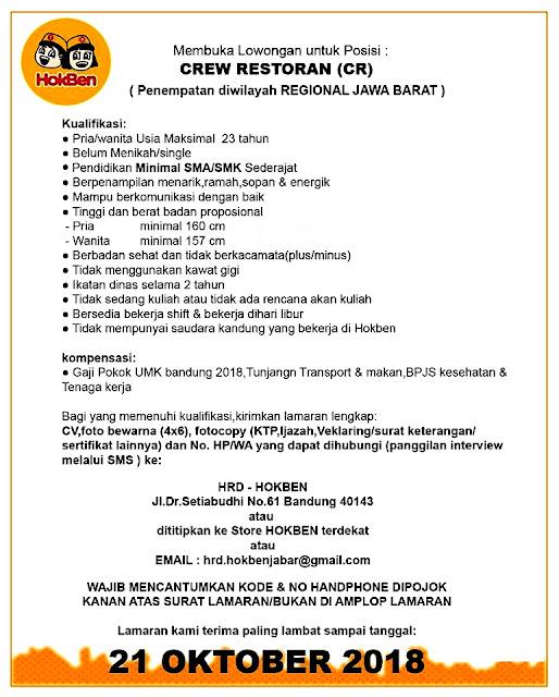 Lowongan Kerja HokBen Regional Jawa Barat