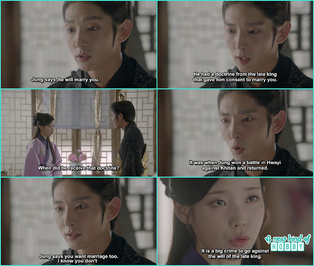 king wang so then ask hae soo about the late king doctrine and what if she wanted to marry 14th prince - Moon Lovers Scarlet Heart Ryeo - Episode 19 (eng sub)