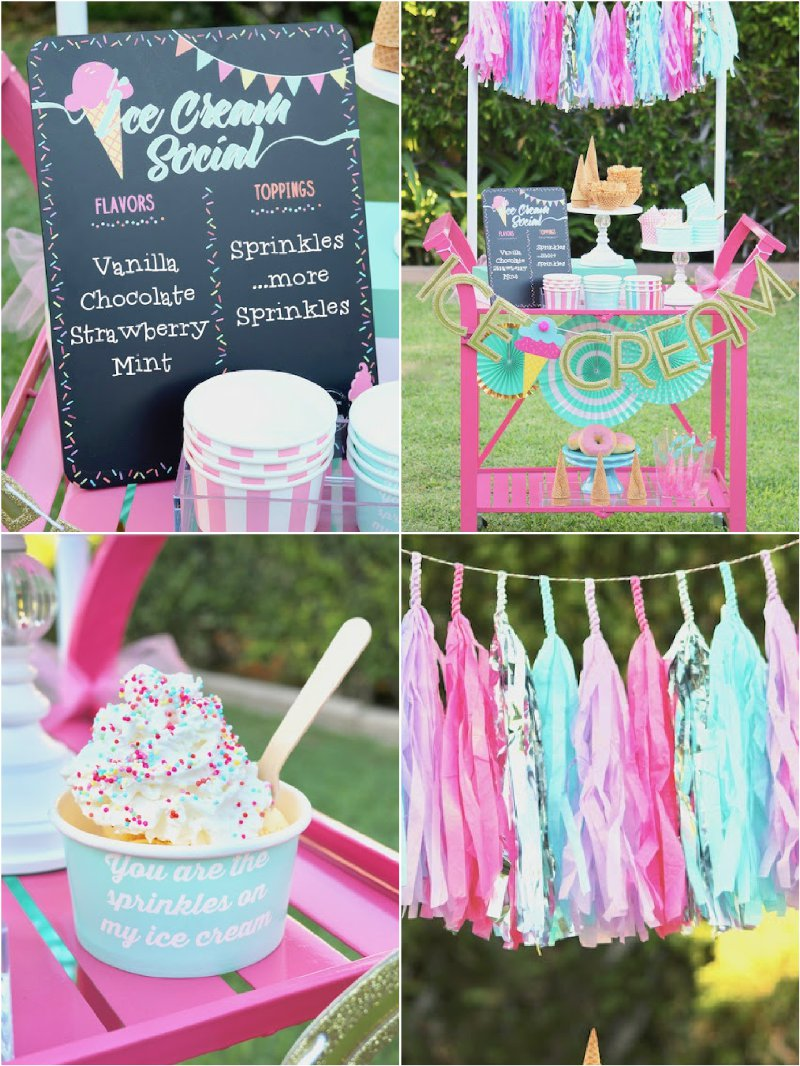 Ice cream social party ideas via BirdsParty.com @birdsparty