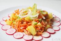 Ensalada de patatas y gambitas con aliño de aceite de oliva virgen al limón