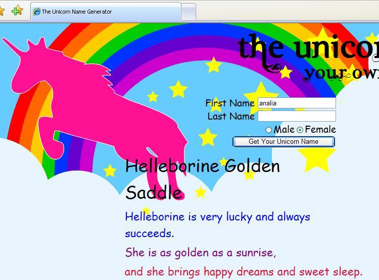 Human for Human's sake: Unicorn Name Generator!!!