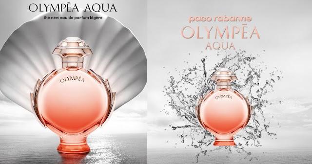 Dwie grafiki promujące perfumy Olympea Aqua