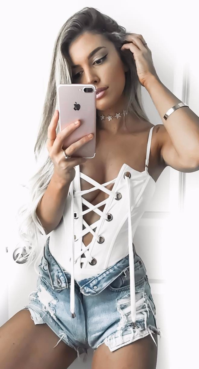 corset bodysuit + denim shorts / summer outfit