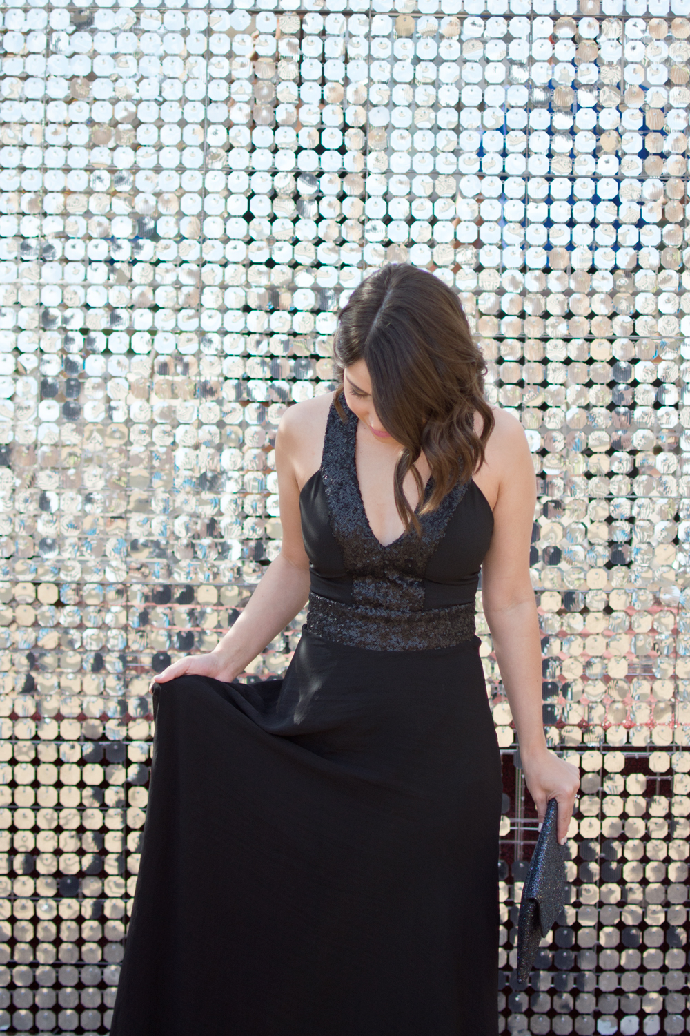 Beats and Bubby New years eve black tie event outfit, Black tie gown, Black tie outfit idea, Glittery NYE Outfit, New years eve outfit idea, Sequin New Years look, Black Tie New Years Eve Outfit