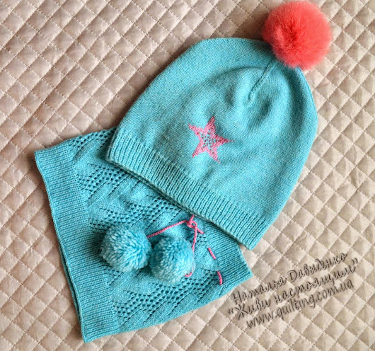 Бирюза. Шапочка и снуд / Turquoise hat and scarf for girl