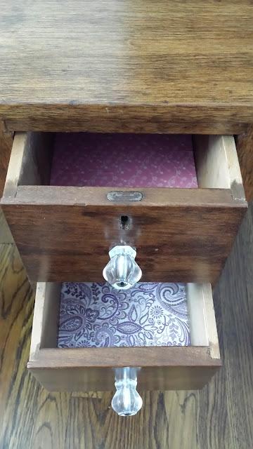 Refinished roll top desk, vintage glass knobs
