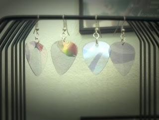2 pairs of iridescent DVD Guitar Pick Earrings