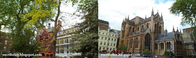 Viaje a Londres. Casas típicas desde un parque, iglesia chulísima