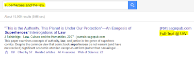 """Superheroes and the law"" are typed into the search bar, there is an article and on the right-hand side there is ""Full Text @ UW"" option highlighted."