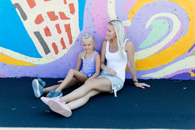 mom and me outfit comfy casual idea sneakers fur pom pink lace skirt