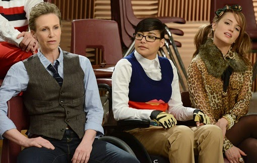 Jane Lynch, Naya Rivera y Dianna Agron en Glee