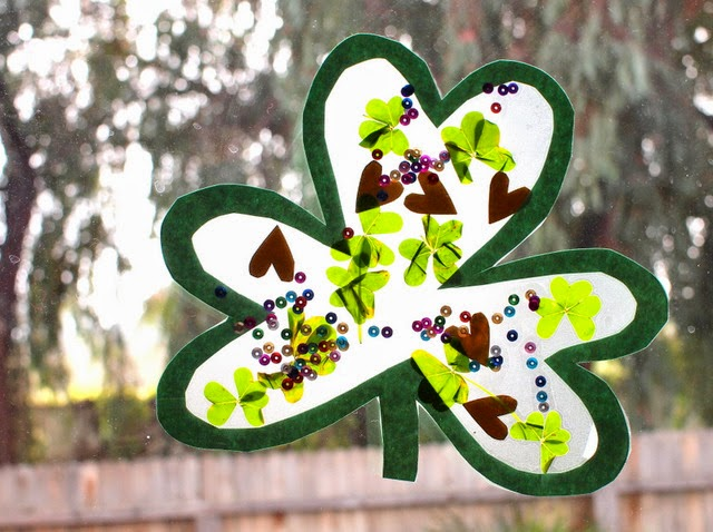 Clover contact paper sun catchers for St. Patrick's Day