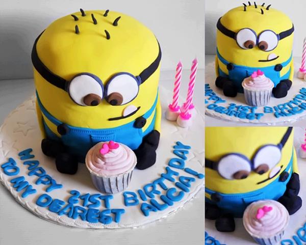Ảnh bánh sinh nhật hình minion cực dễ thương này để dành tặng cho các em bé thiếu nhi.