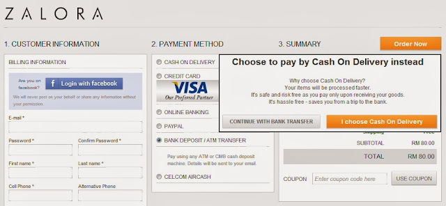 Payment methods available at Zalora