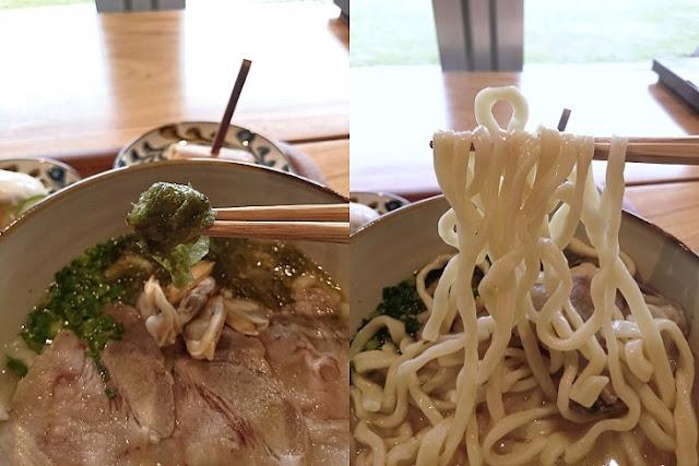 みやんち沖縄そばのアーサと麺の写真